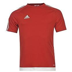 Adidas Mens 3 Stripe Estro T Shirt Short Sleeved Tee Top Climalite Uniredwhite L
