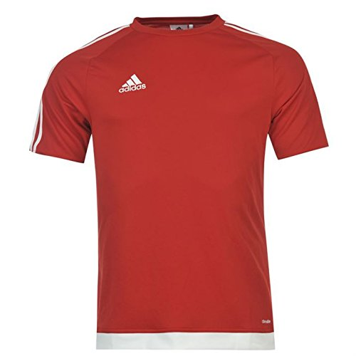 Adidas Herren 3 Streifen Estro T Shirt Short Sleeved Tee Top Climalite Medium rot - UniRed/White (Check-polo-t-shirt)
