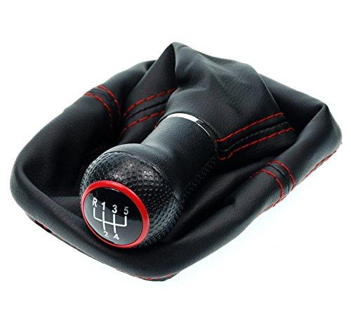 L&P A0254-1 Schaltsack Schaltmanschette in Schwarz mit roter Naht ROT + Schaltknauf + Befestigungsschelle GTI look 5 Gang als Plug Play Ersatzteil