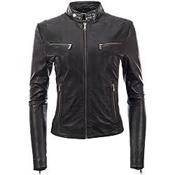 Chaqueta de motociclista para mujer de piel de oveja De moda súper suave de MDK