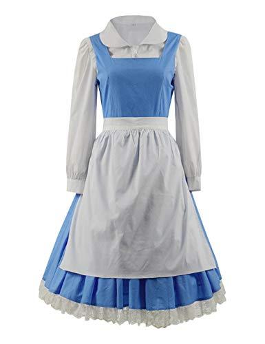 Zhangjianwangluokeji Damen Kleid Blauen Cosplay Erwachsene Halloween Faschingskostüm (M, - Belle Blau Kleid Kostüm Für Erwachsene