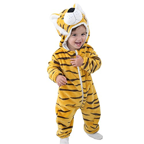 BabyPreg Unisex Baby Tier Halloween Kostüme Hooded Flanell Spielanzug Outfits (90cm / 12-18 Monate, Tiger) (Tier Halloween Kostüme)