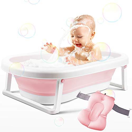 Babybadewanne, Faltbare Babybadewanne, Faltbare Babybadewanne für Neugeborene mit Kissen für 0-2 Jahre, Rosa