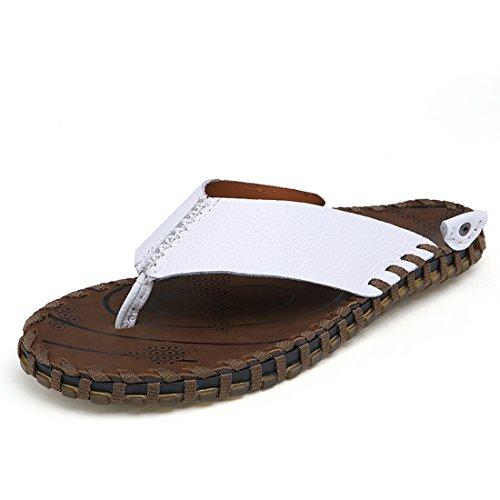 Z.SUO Herren-Leder-Gemütliche Flip-Flop Zehentrenner Sandalen(44 EU,Weiß)