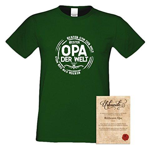 Geburtstagsgeschenk Opa Großvater :-: Herren T-Shirt als Geschenkidee :-: Bester Opa der Welt :-: Übergrößen 3XL 4XL 5XL :-: Geschenk zum Geburtstag für Opa Farbe: dunkelgrün Dunkelgrün