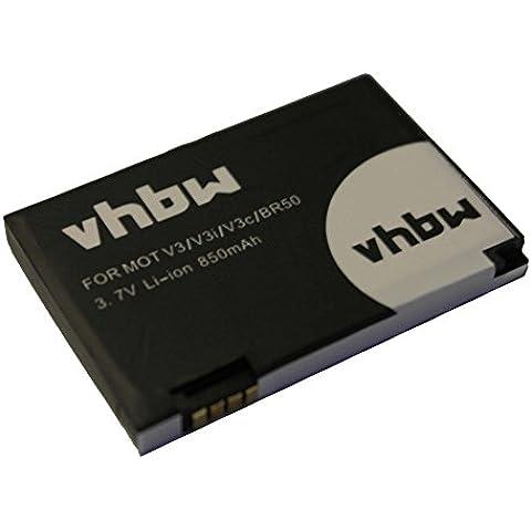 Batería Li-Ion 850mAh (3.7V) marca vhbw para móviles Motorola Prolife 500, Razr V3, V3c, V3E, V3i, V3IM sustituye 22320, BA700, SNN5696.