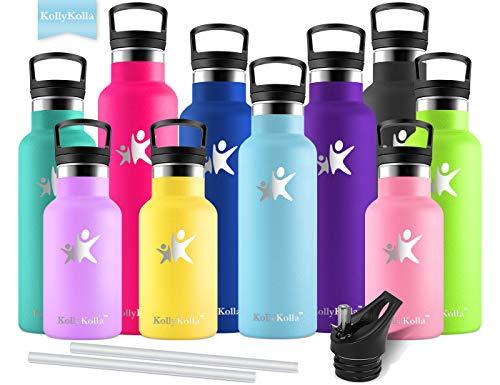 KollyKolla Vakuum-Isolierte Edelstahl Trinkflasche, 600ml BPA-frei Wasserflasche mit Filter, Thermosflasche für Kinder, Mädchen, Schule, Kindergarten, Sport, Wandern, Camping, Outdoor, Himmelblau