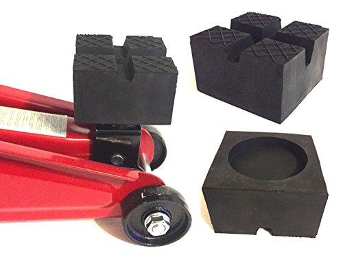 85x85x50mm mit 2xV-Nut/Waffel/Aussparung Gummiauflage Gummi-Unterlage Auflage Wagen-Heber Hebebühne eckig Auto Klotz Rangier-Wagenheber Puffer Reifen Reifenwechsel LKW Räder KFZ Tuning Zubehör