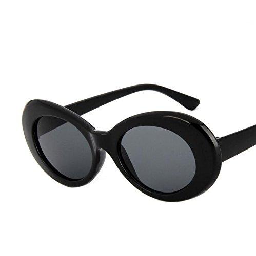 Huertuer Retro Unisex Oval Sonnenbrille Reise Outdoor Sonnenbrille, Plastik, Schwarz, 145mm