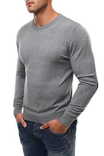 OZONEE Herren Pullover Longsleeve Sweatshirt Shirt Langarmshirt LP6002 Grau_NM8005