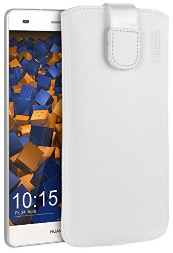 mumbi ECHT Ledertasche Huawei P8 Lite Tasche Leder Etui weiss (Lasche mit Rückzugfunktion Ausziehhilfe)