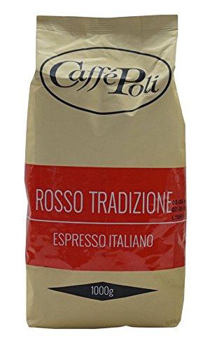Caffè Poli Rosso Tradizione Espresso Italiano | Italienische Espressobohnen | Ideal für Kaffeevollautomaten, Siebträger und Espressomaschine | Kaffee-Bohnen aus Italien