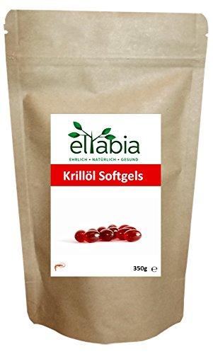 Krillöl hochdosiert 500 Kapseln Großes Pack Reich an Astaxanthin und Omega 3 - Neutral im Geruch und Geschmack - Ohne Aufstoßen eltabia