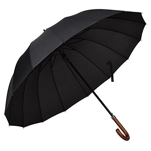 Atree 55 pollici Classic Auto Open J Umbrella maniglia parasole Stick ombrello con 16 costole, resistente e abbastanza forte (Nero)