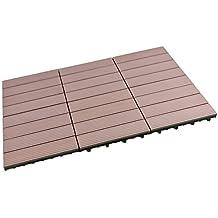 sorara wpc robuste 30 x 30 cm marron 6x 054 - Dalle Terrasse Composite 50x50