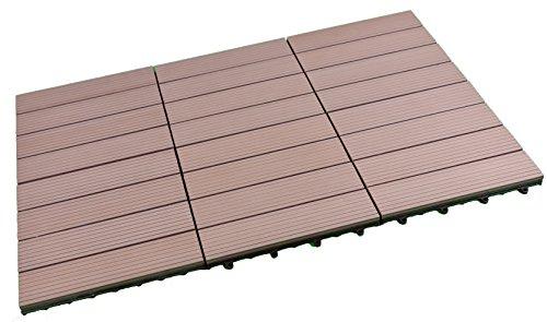 SORARA - WPC | Robuste | 30 x 30 cm | Marron | 6x | 0.54 m2 | Dalles massives pour Jardin et Terrasse | avec Système de Clic