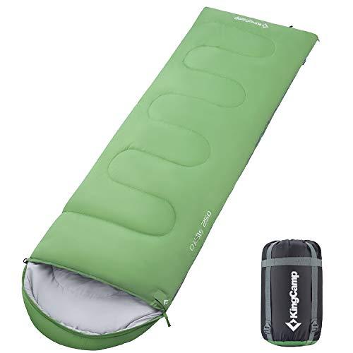 KingCamp Oasis Series - 3 Grados C / 26 Grados F Saco de Dormir liviano, portátil, de Uso múltiple, para Uso al Aire Libre, para Acampar, Hacer excursiones y Practicar Senderismo