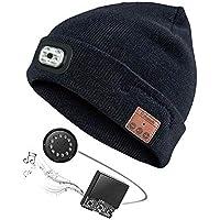 ANFAY Bluetooth Gorros De Punto con Led Beanie Sombreros Inalámbrico Música Auricular Mic Incorporado Respuesta De Llamadas Apoyo iPhone/Android Equipo,Black