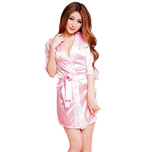 Zolimx Frauen Fischnetz Sheer Open Crotch Body Strumpf Bodysuit Dessous (Rosa / Bademantel) (Kleiderbügel Dessous Gepolsterte)