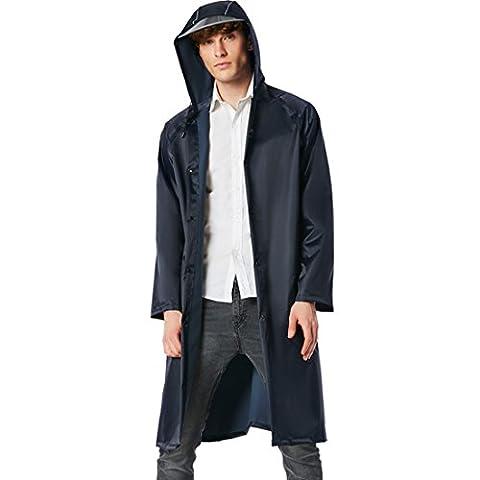 JDRAIN Femme Homme à capuchon PVC ?paissir long imperméable Poncho avec bande réfléchissante plein air voyage camping randonnée vestes de pluie imperméable Manteaux
