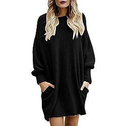 Punto Jerséis Lana Pullover Negro Invierno para Mujer,PAOLIAN Suéter Cálido Tallas Grandes Manga Largas Suelto Rebajas Otoño Señora Camisetas Tops Blusas Elegantes Vestido Navidad