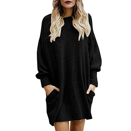 MYMYG Damen Stricken Langarmshirt Mode Frauen Solide Oansatz -