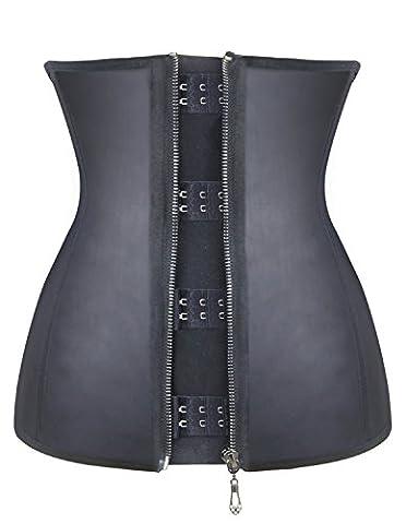 Burvogue Damen Korsett , 3 Haken, Latex, Formwäsche (XL, Schwarz)