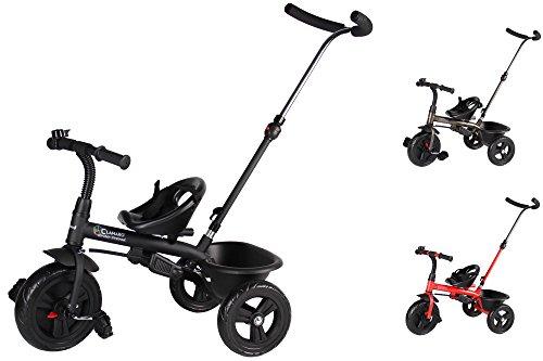 Clamaro 'Buttler Basic' 2in1 Kinderwagen Dreirad ab 1 Jahr mit lenkbarer Schubstange, mit flüsterleisen Gummireifen, Vor- und Rücklauf, Kinderdreirad für Jungen und Mädchen - Schwarz matt