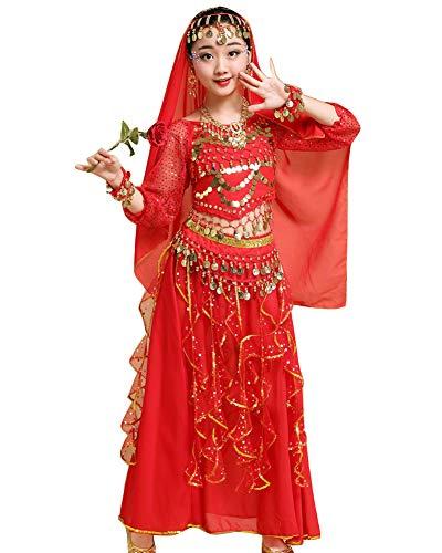 Kinder Mädchens Damen Bauchtänzerin Indische Langarm Top Rock Tanzkleid Kostüme Rot Adult Höhengeeignet 150-170CM (Indische Bauchtänzerin Kostüm)