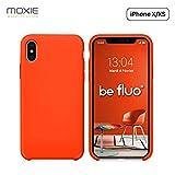 """MOXIE Coque iPhone XS/iPhone X [BeFluo] Coque Silicone Fine et Légère pour iPhone XS 5.8"""" et iPhone X, Intérieur Microfibre, Coque Anti-Chocs et Anti-Rayures pour iPhone XS/X - Orange"""