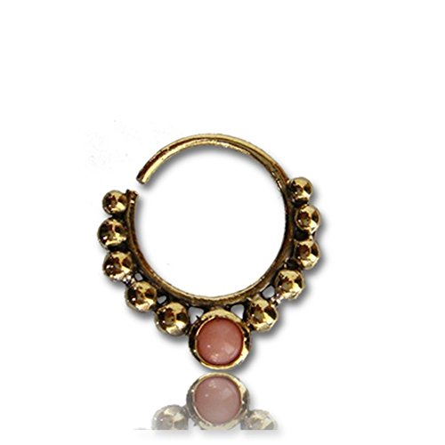 Chic-Net Septum Piercing Nasenringe Achat pink Kugeln Messing 1 mm golden antik Ohrring