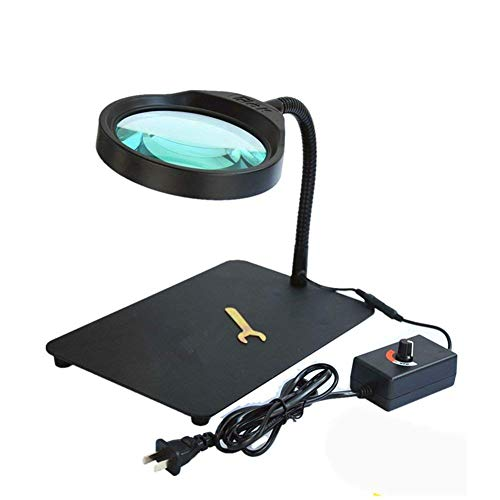 Éclairé 10X HD avec la lumière LED loupe Test de réparation de Bureau Luminosité réglable Enfants âgés Livre de Lecture Lecture à la Main Artisanat Bijoux Identification Loupe
