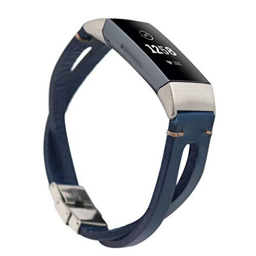 samLIKE Leder Armband für Fitbit Charge 3 Herren und Damen Retro Ersatzarmband Aushöhlen Weich Sportarmband Kompatibel mit Fitbit Charge 3, 200MM, 7 Farben (Blau)