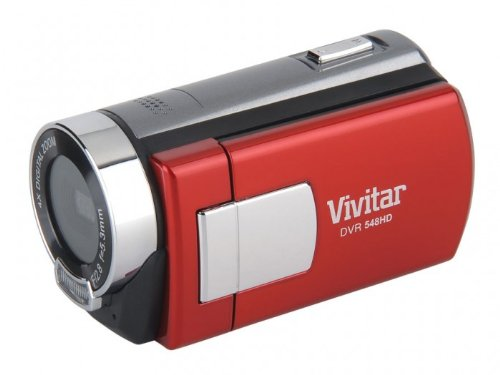 Vivitar 5.1 MP HD 4X Digital Camcorder Recorder 548 w/ 2-inch Screen Red