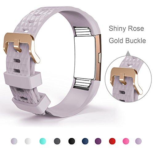 Db Bracelet pour Fitbit Charge 2, Bracelet de remplacement pour Fitbit Charge 2, Bracelet en silicone coloré doux pour Fitbit Charge 2, Or, rose (Taille 150Mm-220mm, capteur non inclus), lavande