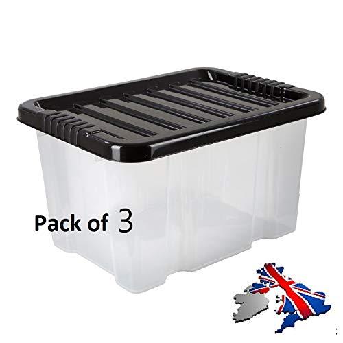 Home Storage King Aufbewahrungsboxen aus Kunststoff für Schuhe, 24 l, groß, stabil und stapelbar, Wiederverwendbare Aufbewahrungsboxen für Bücher, umweltfreundlich, 3 Stück (Sterilite Aufbewahrungsbox)