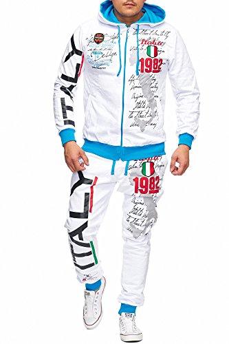 Herren Jogging-Anzug Italien 2079 Design, Trainings-Hose-Jacke-Anzug aus 100% Baumwolle, mit Kapuze und Rippstrickbündchen, von S bis 3XL, Weiß Italy, XXL