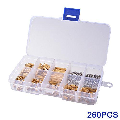 xcsourcer-260-pcs-laton-m2-roscados-separadores-separador-tornillo-tuerca-de-la-columna-macho-hembra