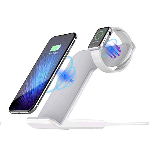 Sararoom 2 in 1 Wireless Charger kabellos Ladegerät Schnellladestation Kompatibel für iPhone X/8/8Plus Galaxy S9/S8/S7 Edge iWatch 1/2/3/4 Weiß