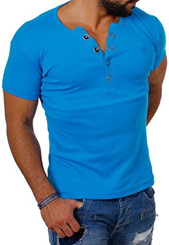 Young & Rich Herren Uni feinripp T-Shirt mit Knopfleiste & tiefem Ausschnitt deep V-Neck einfarbig big buttons große Knöpfe 1872, Grösse:XXL;Farbe:Türkis Ausschnitt Button