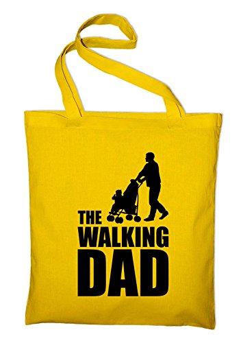 The Walking Dad Fun Jutebeutel, Beutel, Stoffbeutel, Baumwolltasche, schwarz Gelb