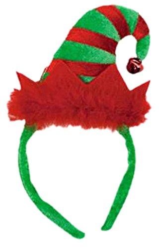 Party Palast - Damen Mini Elfen Haarreif mit Glöckchen und Plüsch Weihnachts Kostüm, onesize, Grün - Rot Und Grün Elfe Kostüm