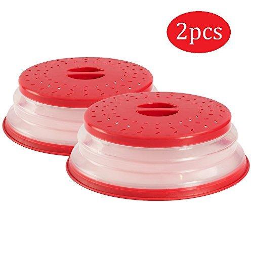 OUCHAN Faltbare Mikrowellenabdeckhaube mit Sieb für Obst und Gemüse, BAP-frei und ungiftig (Red x 2)