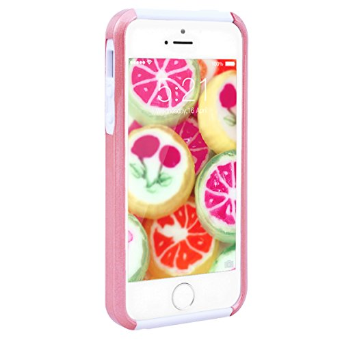 GrandEver Coque iPhone 5 / 5s / SE [ 2 en 1 ] Mandala Motif Design Silicone Souple Bumper et PC Dur Rigide Couche Double Backcover Etui Housse Case pour iPhone 5 / iPhone 5s / iPhone SE --- Vert Rouge Rose Blache