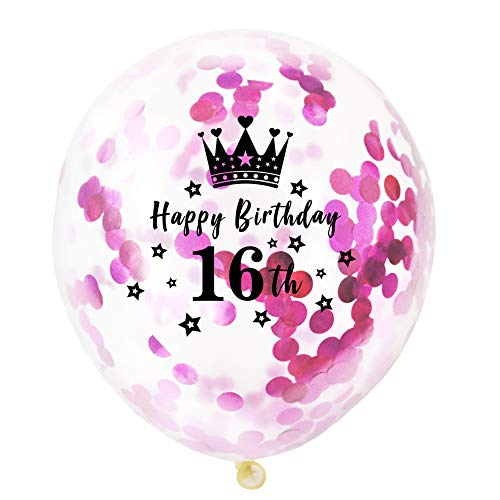 ballon Latex Ballons Latexballons Helium Ballons 10 Stück Krone Geburtstag Konfetti Ballons Premium Latex Ballons für Hochzeit Geburtstag Luftballon Party Deko-16th ()
