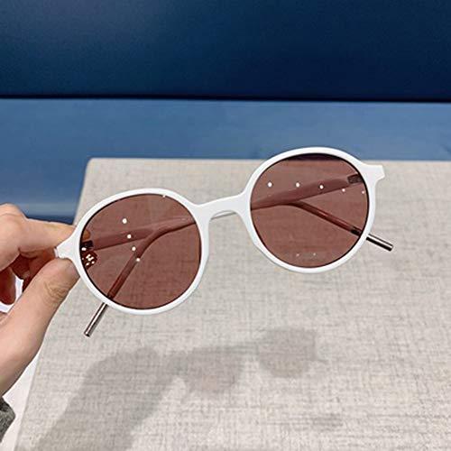 Aegilmc Circle Mirror Trendy Round Sonnenbrille für Frauen Retro Polarized Vintage Small Mirror Glasses Transparent Fashion Cat Eye,White