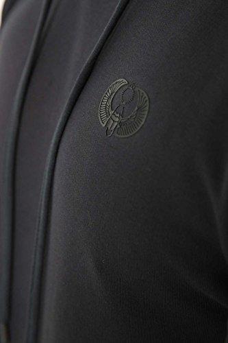 JUNQ Couture ® Badari Felpa imbottita con pannelli a contrasto sulle spalle, Felpa con cappuccio da uomo blu navy