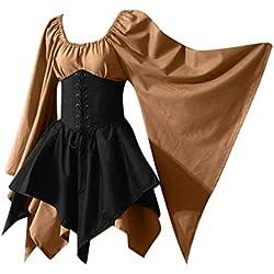 Zolimx Mujer Vintage Renacentista Medieval,Mangas Largas Encantador Vestidos Vestido de Halloween Vestido Vintage Medieval Renacentista Ropa con Volantes Vintage para Mujer
