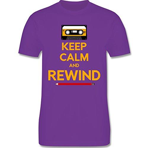 Music - keep calm and rewind - L190 Herren Premium Rundhals T-Shirt Lila