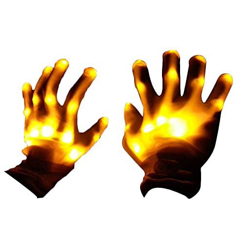 CTGVH LED-Handschuhe für Partys und Halloween, mehrfarbige LED-Handschuhe für Lightshow-Tanz-Handschuhe für Clubbing, Halloween, Rave Geburtstag und Party, 1 Paar, Nylon, gelb, 24.5 * 12.5cm